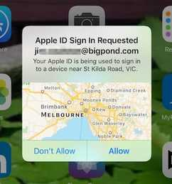 Apple ID sign-in request message shows wrong location